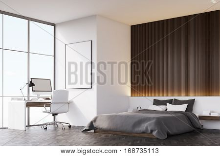 Bedroom With Wooden Wall And Table, Side View