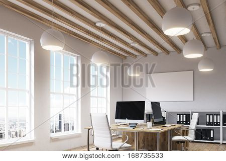 Office interior with a large wooden table with computers on it surrounded by chairs white shelves with binders and a poster hanging above them. 3d rendering. Mock up.
