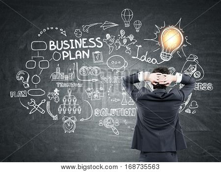 Rear view of a businessman wearing a suit and standing with his arms behind his head. He is looking at a business plan sketch on a blackboard. Light bulb in the corner.