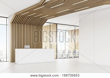 Reception Desk And Brown Pipes, Side