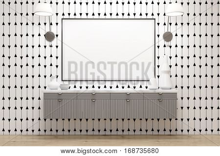 Room With Drawers, Lamps And Poster, White Wall