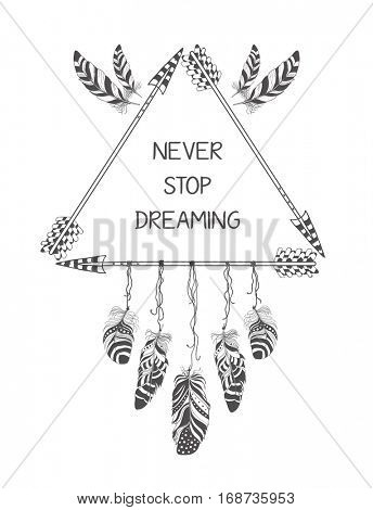 Hand drawn boho style design with arrow and feathers. Hippie fashion decoration for t-shirt or tattoo.
