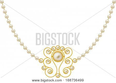 Pearl Gold Jewellery Necklace Raster Illustration
