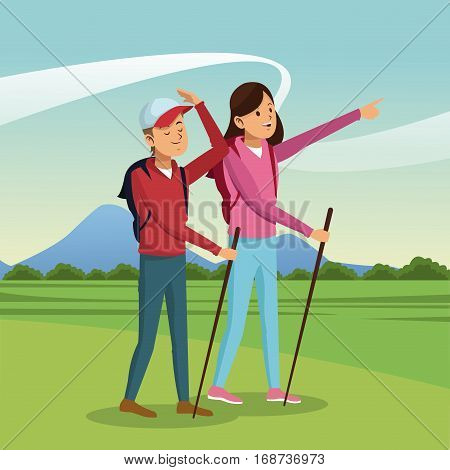 young couple hiking with backpack walking sticks landscape vector illustration eps 10