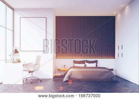 Bedroom With Wooden Wall And Table, Toned
