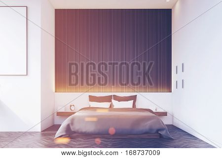 Front View Of Bedroom With Wooden Wall, Toned