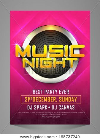 Stylish Music Night Party Celebration Flyer, Banner, Pamphlet or Invitation.