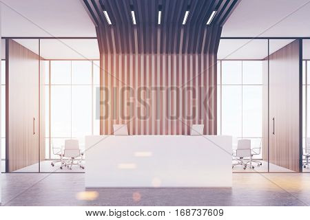 Reception Desk And Black Pipes, Front, Toned