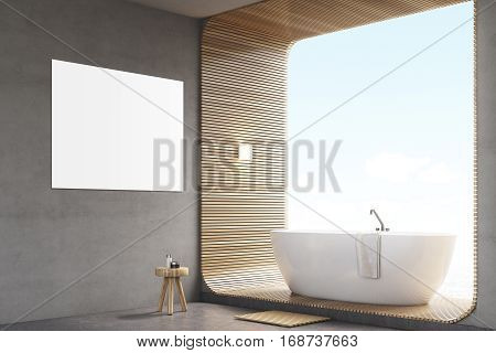 Bathroom With Poster On Gray Wall And Poster