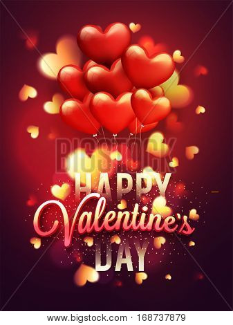 Glossy glowing Heart Shaped Balloons decorated Flyer, Banner or Pamphlet for Happy Valentine's Day Celebration.
