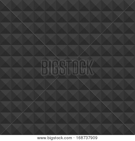 Black pyramids seamless pattern. Vector pattern acoustic black foam. Geometric dark vector background. Cubes texture. Illustration EPS 10.