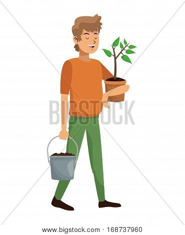 man carrying pot plant and earth pot vector illustation eps 10
