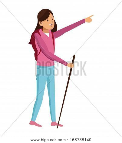 young girl hiking backpack with walking stick vector illustration eps 10