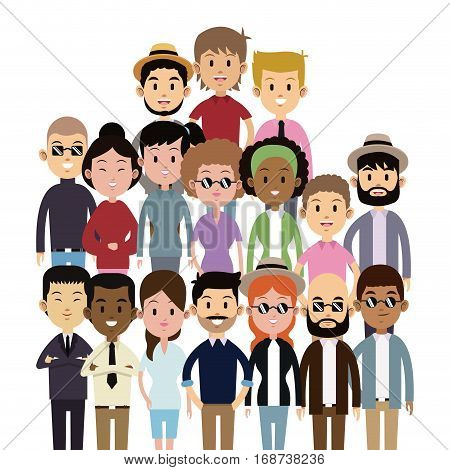 big group people multi-culture ethnic fashion vector illustration eps 10