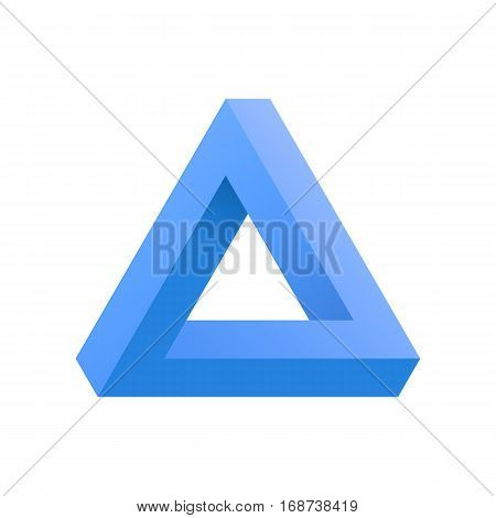 Penrose Triangle icon isolated on white background. Optical illusion triangle sign penrose in blue color. Vector illustration EPS 10.
