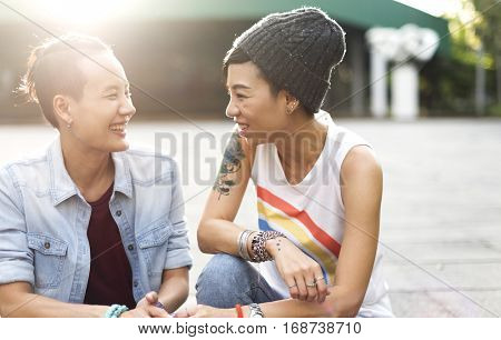LGBT Lesbian Couple Moments Happiness Concept