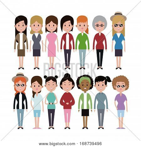 group women ethnicity variety group vector illustration eps 10