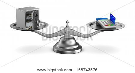 pos terminal and money on scale. Isolated 3D image.