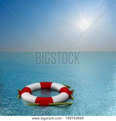 lifebuoy on water. 3D image.