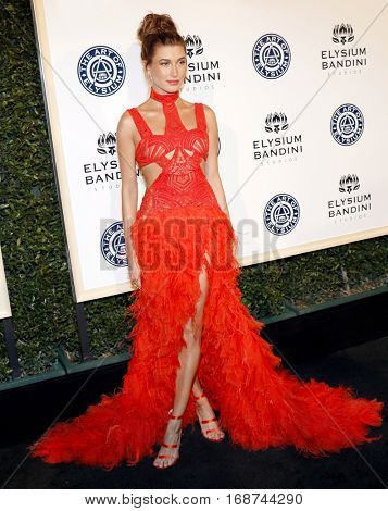 Hailey Baldwin at the Art of Elysium Celebrating the 10th Anniversary held at the Red Studios in Los Angeles, USA on January 7, 2017.