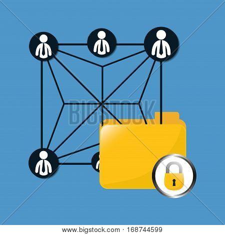 lock file data center related icon, vector illustration