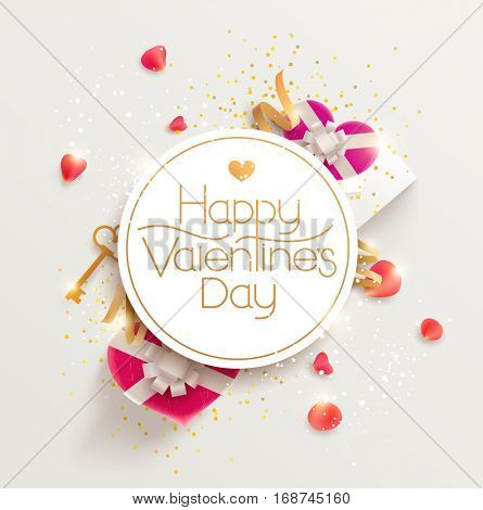 Romantic poster with gift and rose petals on valentine's day.