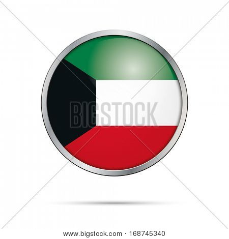 Vector Kuwaiti flag button. Kuwait flag glass button style with metal frame.