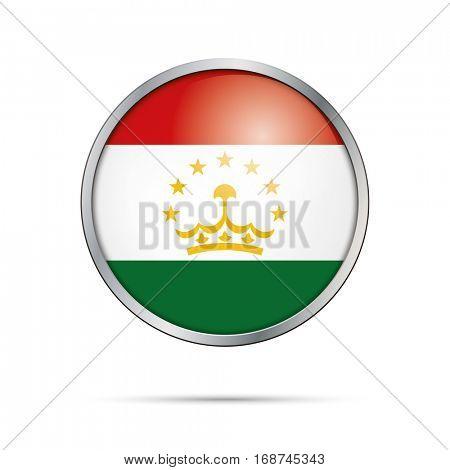 Vector Tajik flag button. Tajikistan flag glass button style with metal frame.