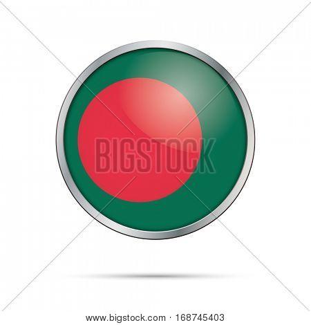 Vector Bangladeshi flag Button. Bangladesh flag glass button style with metal frame.