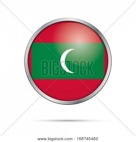 Vector Maldivian flag button. Maldives flag glass button style with metal frame.