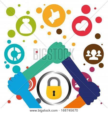 database globe lock connections network design, vector illustration