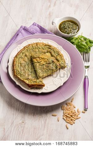 omelet with pesto sauce