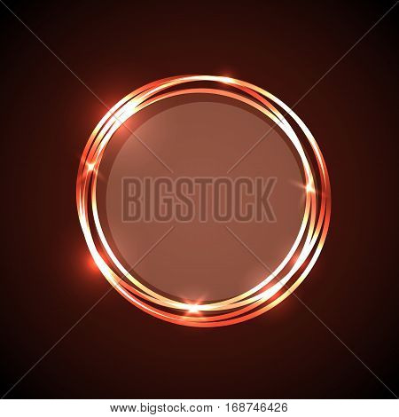 Abstract background with orange neon circles banner, stock vector
