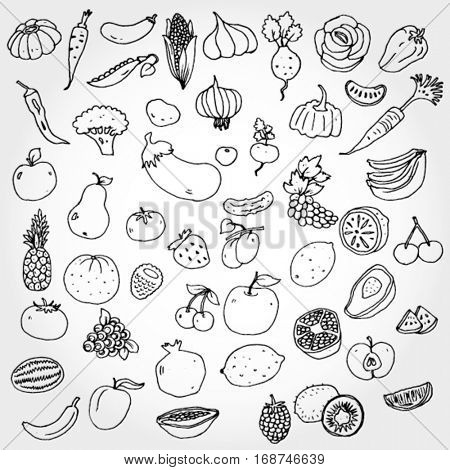 Fruits and Vegies Doodled