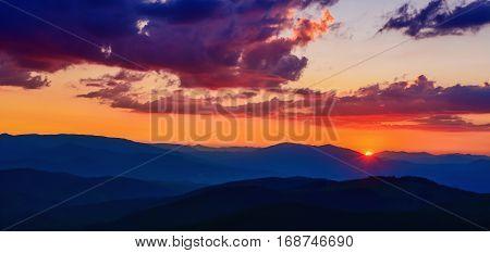 magical sunset over the mountains. Carpathian, Ukraine