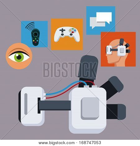 headset 3d technology digital cyberspace vector illustration eps 10