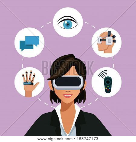 woman virtual reality glasses connection wearable smart vector illustration eps 10