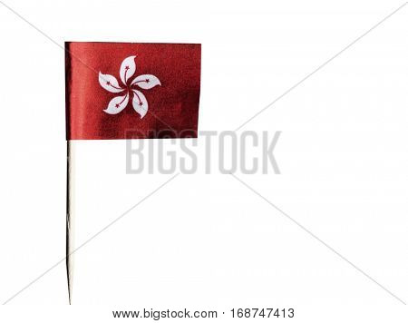 Hong Kong flag in toothpick against white background