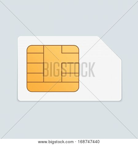 Vector sim card icon in realistic style. Mobile cellular phone Sim Card chip with shadow isolated on light Background. EPS 10.
