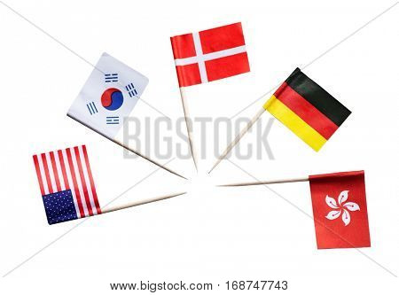 National flags of different countries against white background