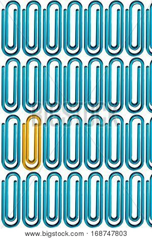 Yellow paper clip standing out from the crowd of blue paper clips over white background