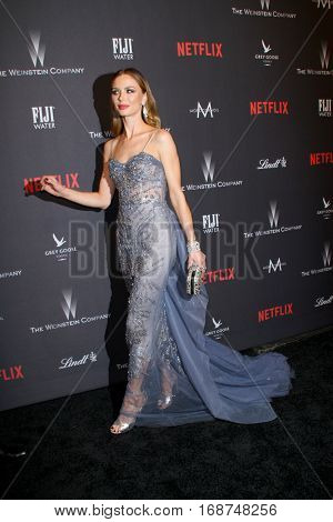Georgina Chapman arrives at the Weinstein Company and Netflix 2017 Golden Globes After Party on Sunday, January 8, 2017 at the Beverly Hilton Hotel in Beverly Hills, CA.