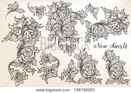 Big collection or set of vector vintage flourishes for design in antique style