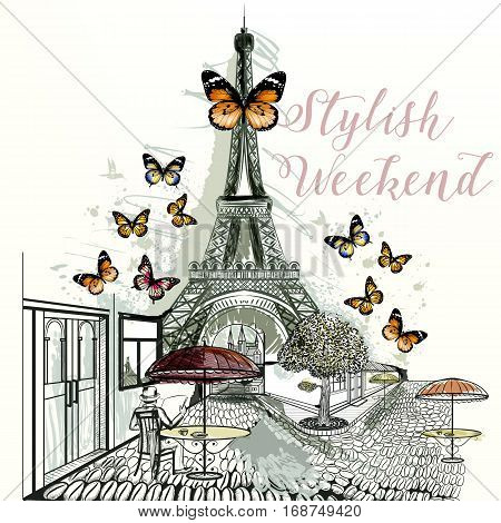 Eifel tower with cafe and butterflies around. Stylish weekend hand drawn illustration