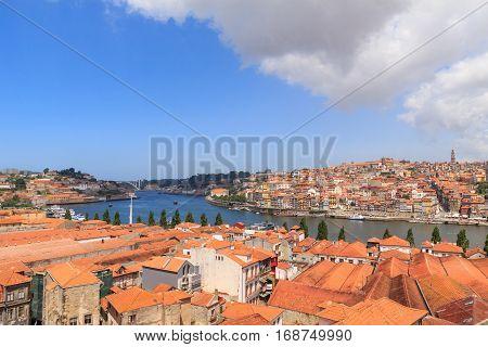 Panorama of the Douro river and Porto Skyline. Porto Portugal