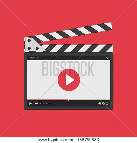 Movie clapper board with video player interface. Slate clapper board. Director clapperboard isolated on red background. Flat style clapboard slate filmmaking device, concept of film production symbol.