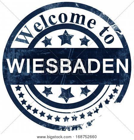 Wiesbaden stamp on white background