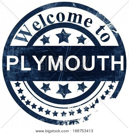 Plymouth stamp on white background
