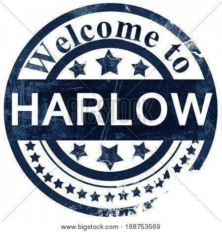 Harlow stamp on white background