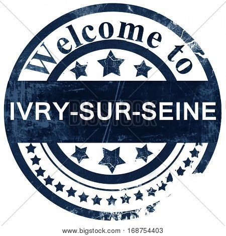 ivry-sur-seine stamp on white background